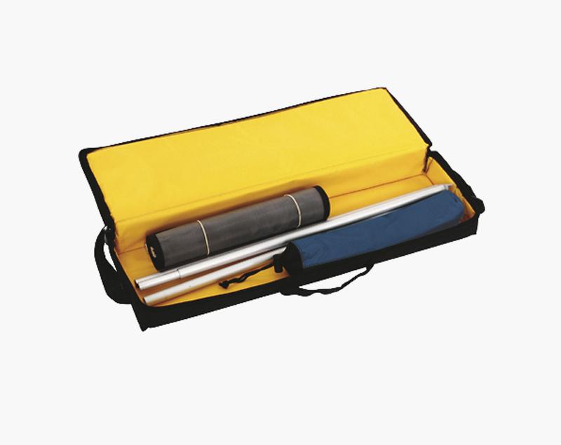 Het pakket bestaat uit een voet, folderhouders, buis en een tas.
