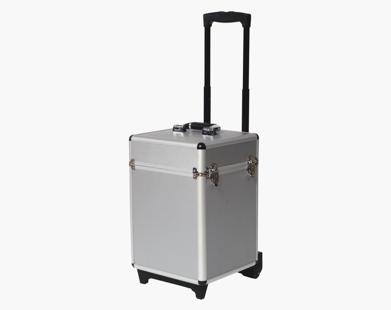 De Brochure Stand is ook leverbaar in een harde koffer op wielen.