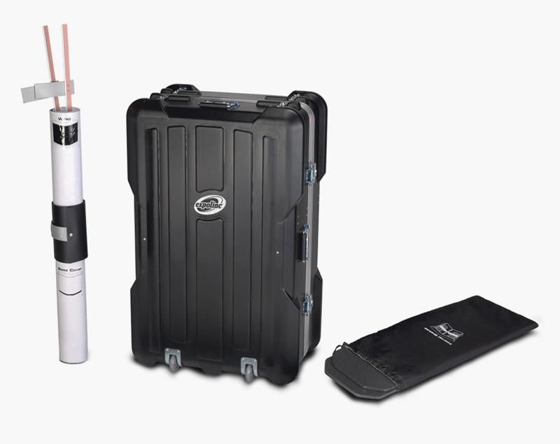 De Case & Counter bestaat uit een koffer met wielen, inlegschappen met tas en een paneelbevestigingsset