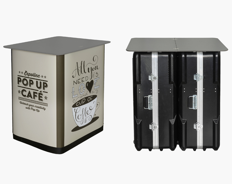 Twee koffers die eenvoudig zijn gekoppeld en voorzien van een topblad